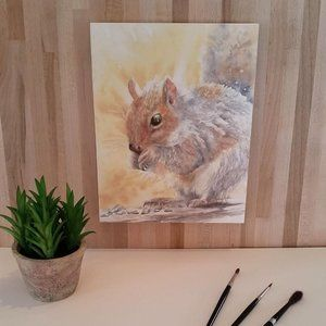 Squirrel Watercolor print on Wood Panel. 1 of 2